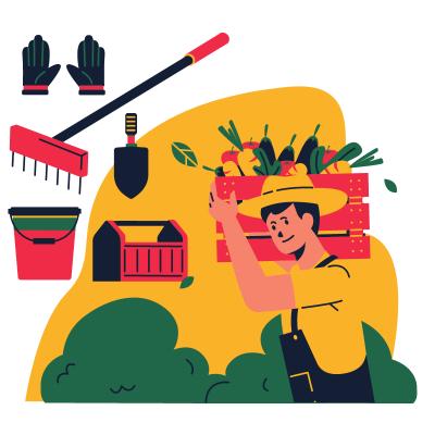 Jardinier qui récolte ses légumes