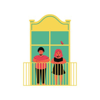Deux personnes sont sur un balcon d'un appartement