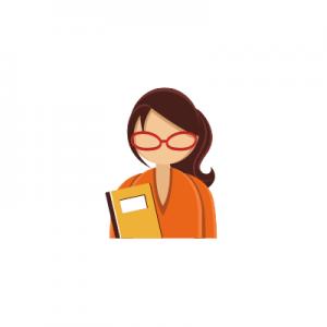 dame à lunettes qui tient un livre