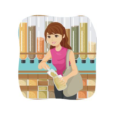 Une dame achète des aliments en vrac