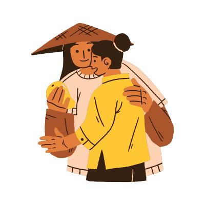 Deux femmes asiatiques échangent entre elles