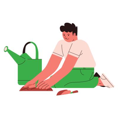 un homme plante des graines dans la terre avec un arrosoir à côté de lui