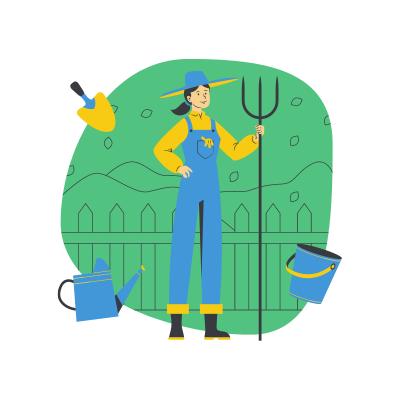 Jardinière tenant un râteau devant son jardin